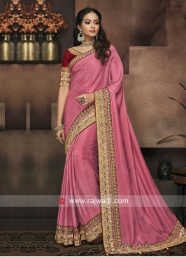 Plain Border Work Saree in Pink