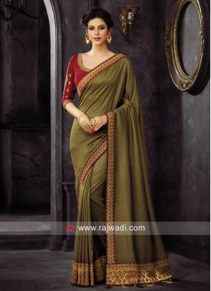 Plain Border Work Tassels Saree