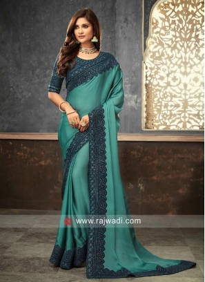 Plain Border Work Wedding Saree