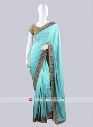 Plain Crepe Silk Saree with Border