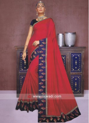 Plain Crimson Art Silk Saree