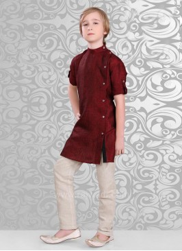Plain Dark Brown Color Kurta With Side Button