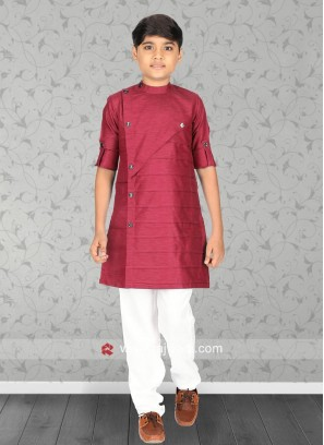 Charming Crimson Kurta Set For Boys