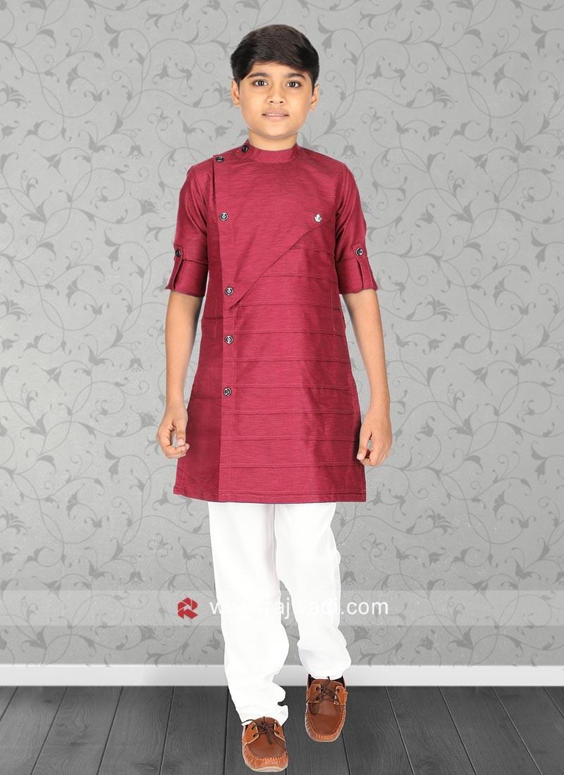 Charming Crimson Kurta Set For Boys