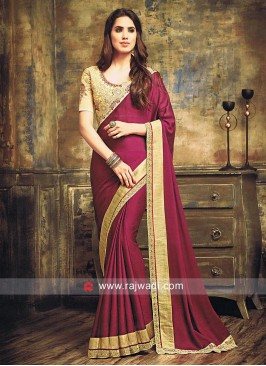 Plain Dark Magenta Sari with Cut Work Border