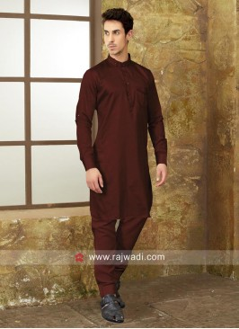 Plain Dark Maroon Pathani Suit