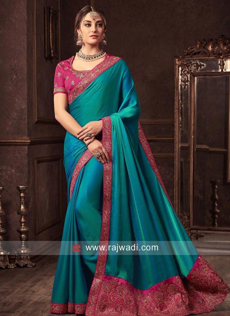 Plain Dark Teal Sari