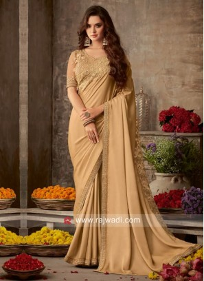 Plain Golden Cream Border Work Saree