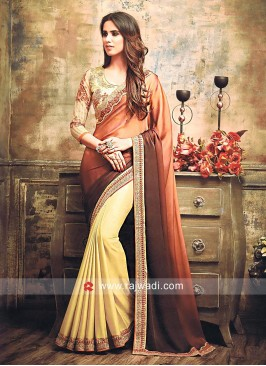 Plain Golden Cream Sari with Shaded Pallu
