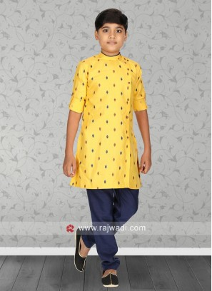 Round Neck Yellow Color Kurta Set