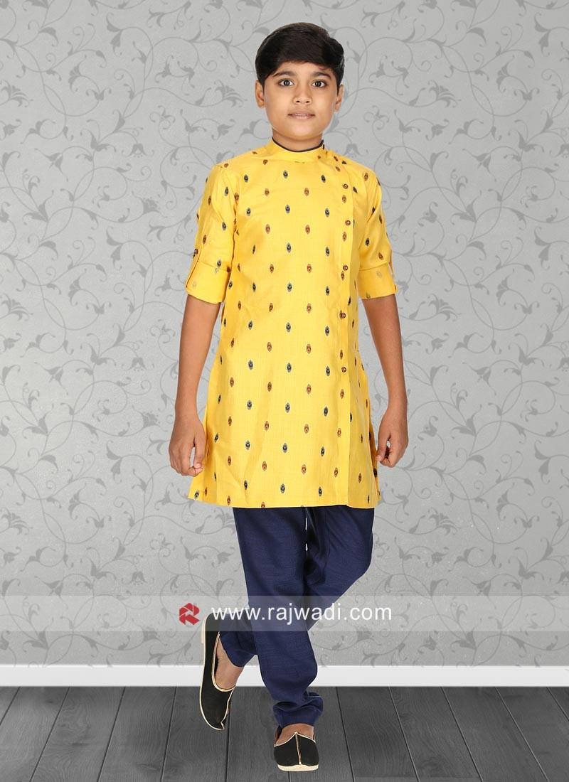 Round Neck Yellow Color Kurta Set
