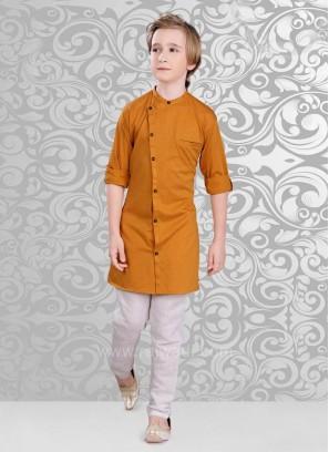 Plain Goldenrod Color Kurta Pajama Set
