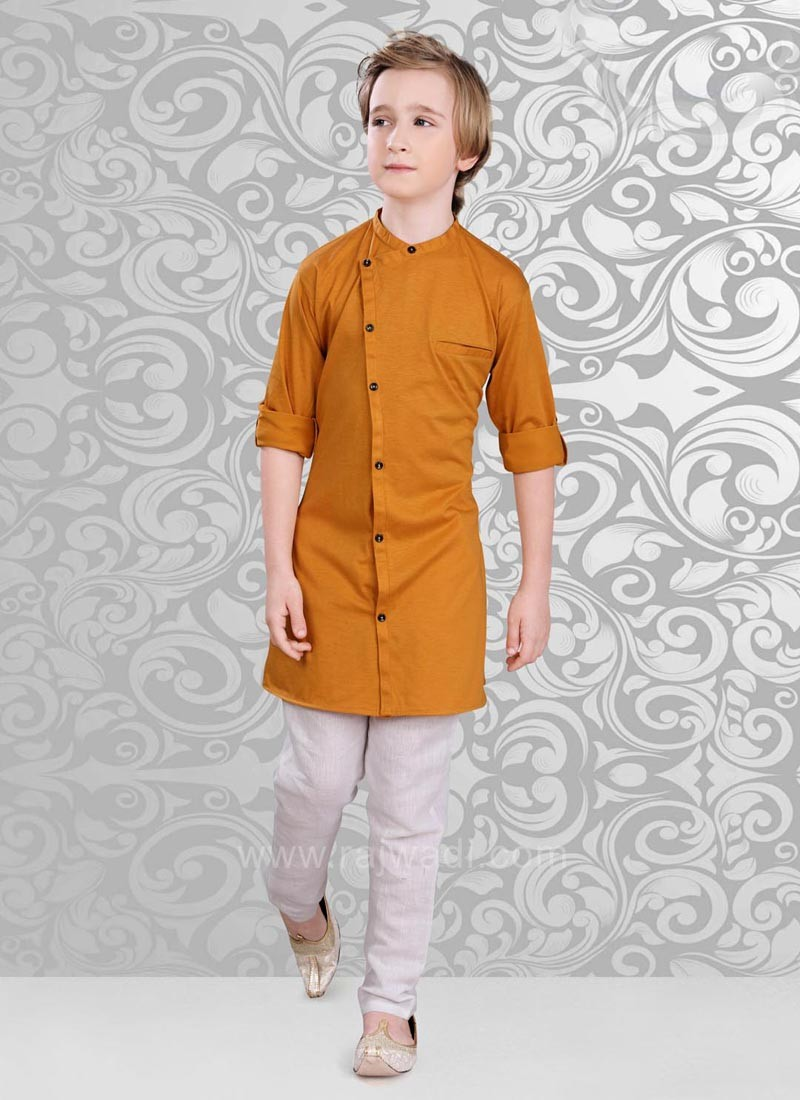 Plain Goldenrod Color Kurta Pajama Set