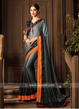 Plain Grey Shaded Saree with Sequins Border