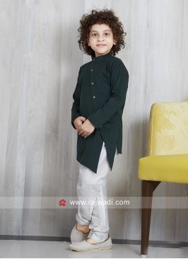 Plain Linen Pathani Set For Kids
