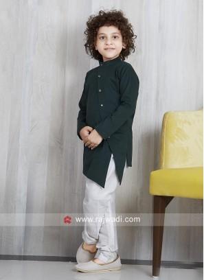 Plain Linen Pathani Set For Kids