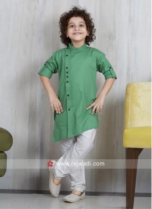 Plain Cotton Silk Pathani Suit