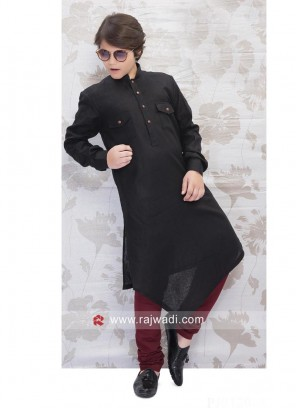 Plain Linen Pathani Suit