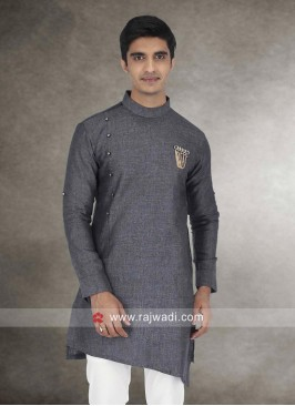 Round Neck Grey Kurta