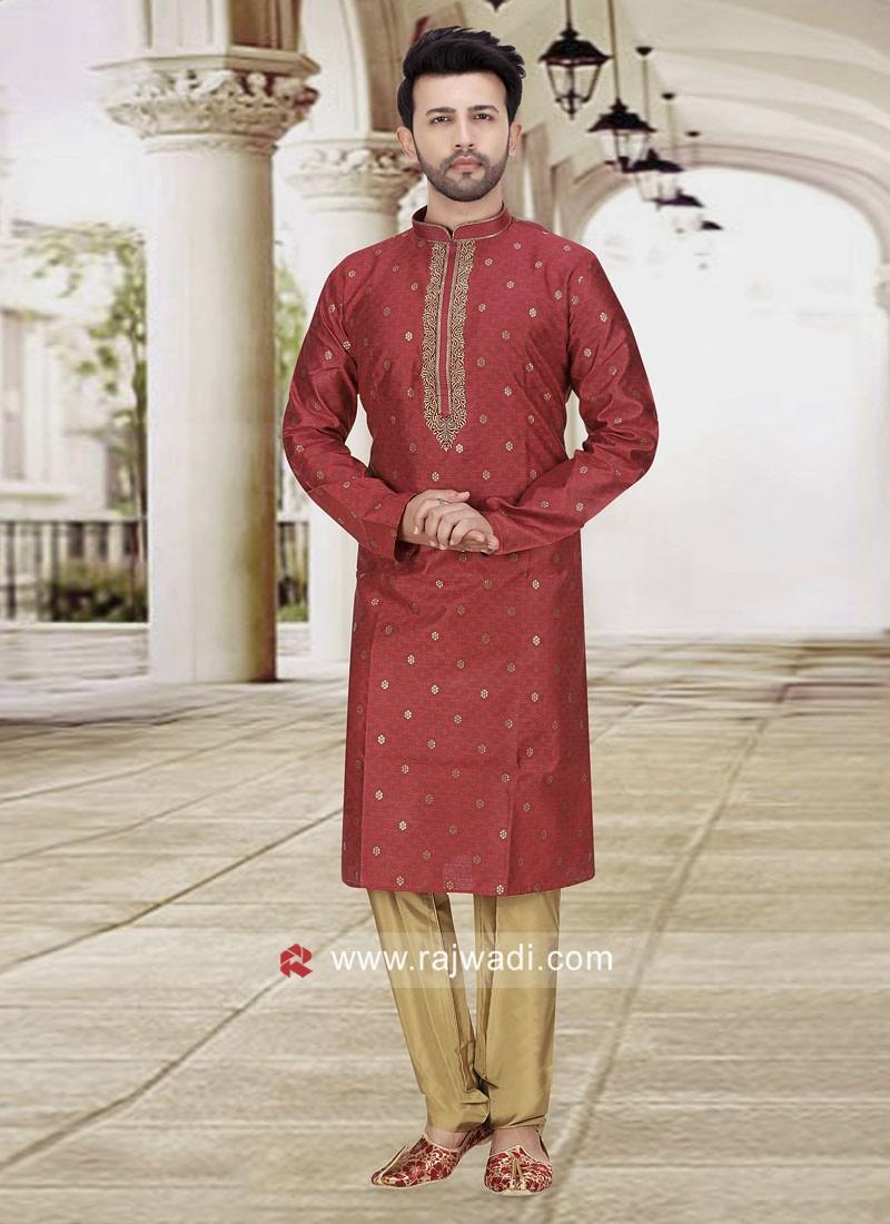 Maroon Color Kurta Pajama