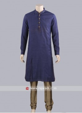 Plain Navy Color Kurta Pajama
