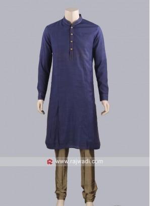 Plain Navy Color Kurta Pajama