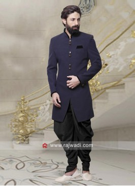 Plain Navy Indo Western For Wedding