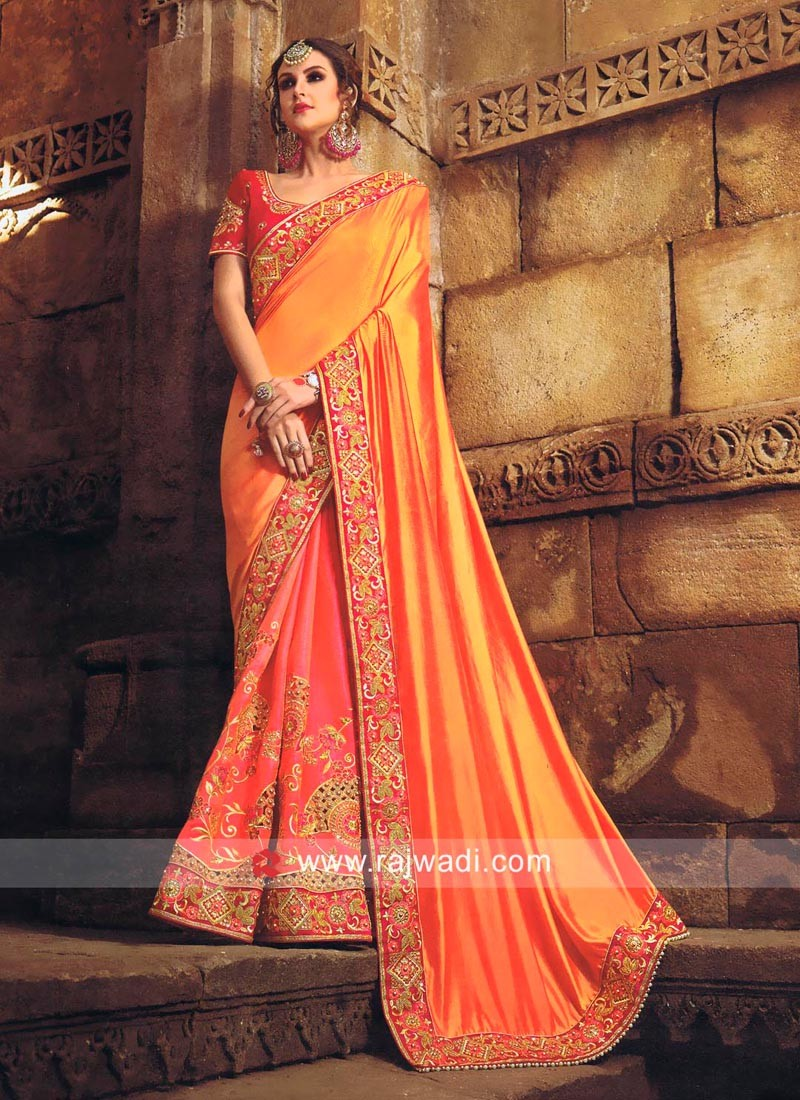 Plain Pallu with Embroidered Pleats Saree