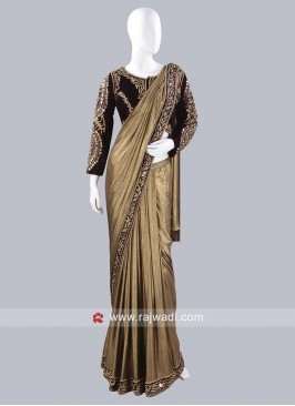 Plain Party Wear Pre Stitched Saree