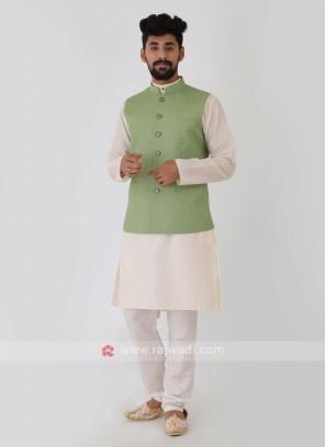 Plain Pista Green Nehru Jacket Set