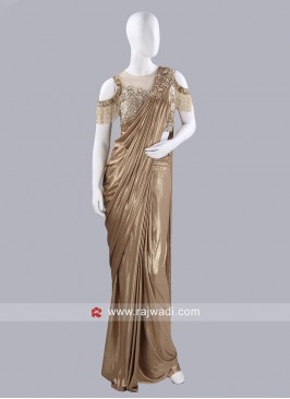 Plain Pre Stitched Saree with Cold Shoulder Choli