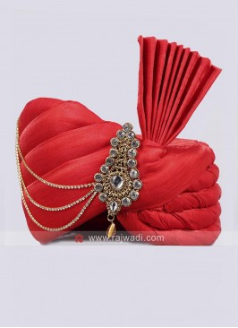 Plain Red Color Art Silk Turban
