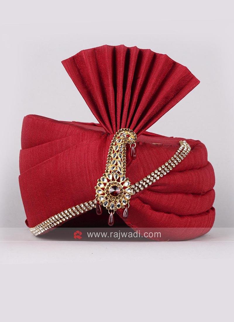 Plain Red Color Wedding Safa
