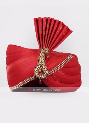 Plain Red Wedding Safa