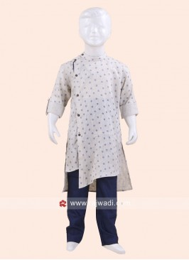 Cream Color Boys Pathani Set