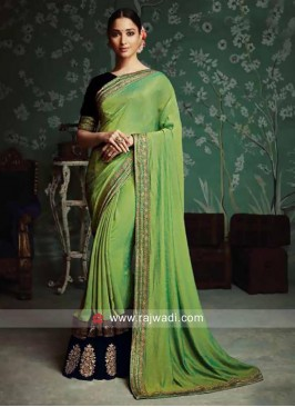 Plain Tamannaah Bhatia Sari with Contrast Border