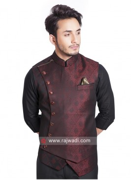 Maroon and Black Brocade Silk Koti