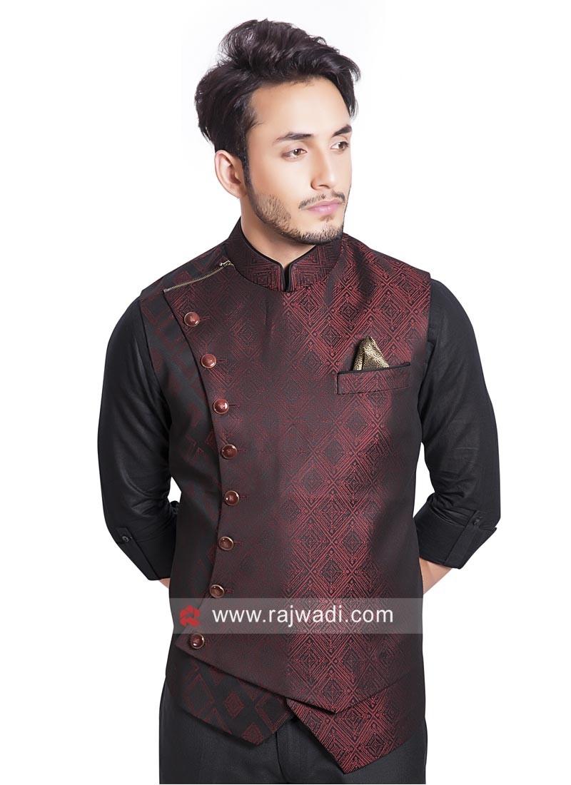 Maroon and Black Shaded Brocade Silk Koti