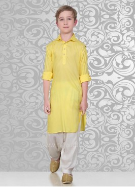 Plain Yellow Color Pathani Suit