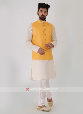 Plain Yellow Nehru Jacket Set