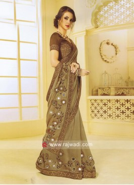 Plastic Mirror and Stone Work Saree