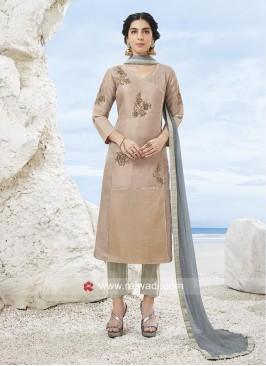 Plastic Mirror Trouser Suit with Dupatta