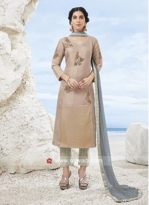 Plastic Mirror Trouser Suit with Dupatta