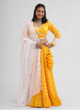 Plastic Mirror Work Choli Suit In Yellow Color