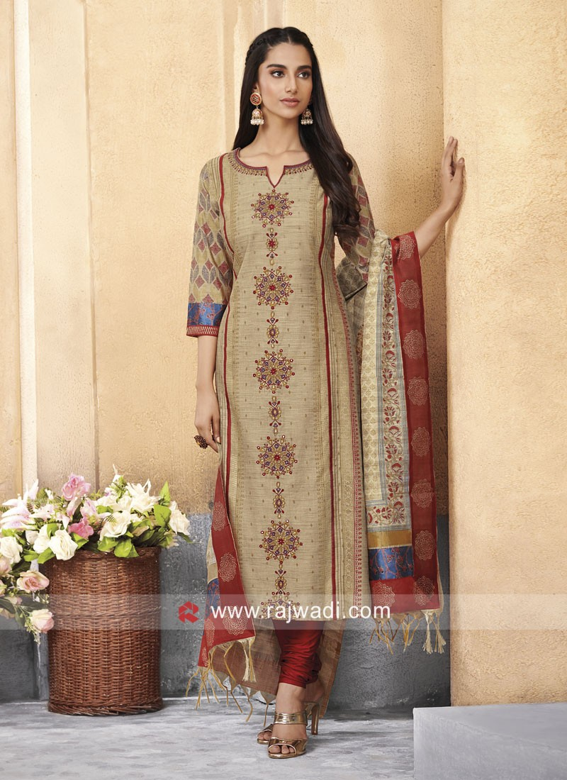 Plastic Mirror Work Churidar Suit