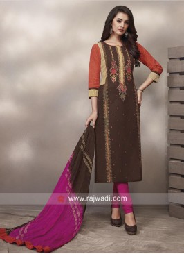 Shagufta Plastic Mirror Work Straight Salwar Suit