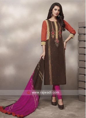 Shagufta Plastic Mirror Work Straight Salwar Suit