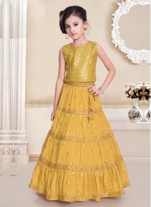 Plastic Mirror Work Yellow Choli Suit