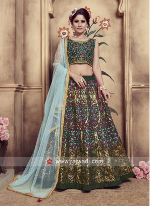 Pleasant Dark Green Heavy Embroidered Lehenga Choli