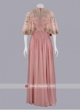 Poncho Style Chiffon Gown
